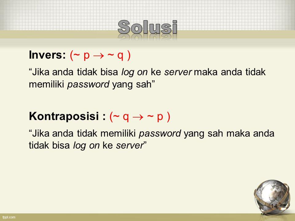 """14 Invers: (~ p  ~ q ) """"Jika anda tidak bisa log on ke server maka anda tidak memiliki password yang sah"""" Kontraposisi : (~ q  ~ p ) """"Jika anda tida"""