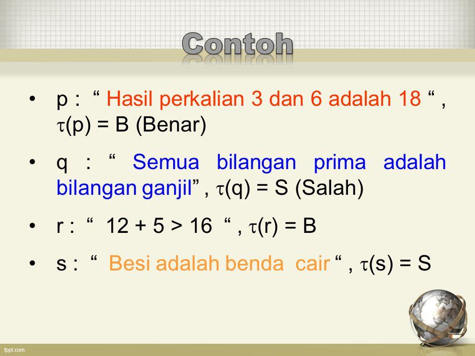"""p : """" Hasil perkalian 3 dan 6 adalah 18 """",  (p) = B (Benar) q : """" Semua bilangan prima adalah bilangan ganjil"""",  (q) = S (Salah) r : """" 12 + 5 > 16 """""""
