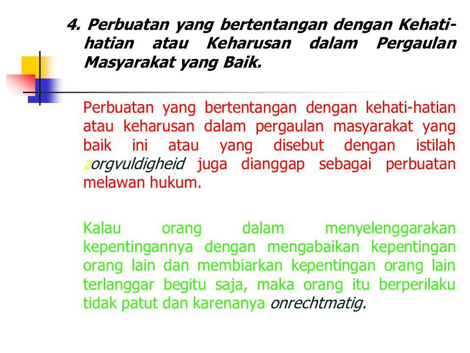 4. Perbuatan yang bertentangan dengan Kehati- hatian atau Keharusan dalam Pergaulan Masyarakat yang Baik. Perbuatan yang bertentangan dengan kehati-ha