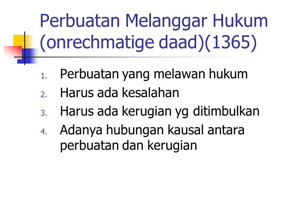 Perbuatan Melanggar Hukum (onrechmatige daad)(1365) 1. Perbuatan yang melawan hukum 2. Harus ada kesalahan 3. Harus ada kerugian yg ditimbulkan 4. Ada