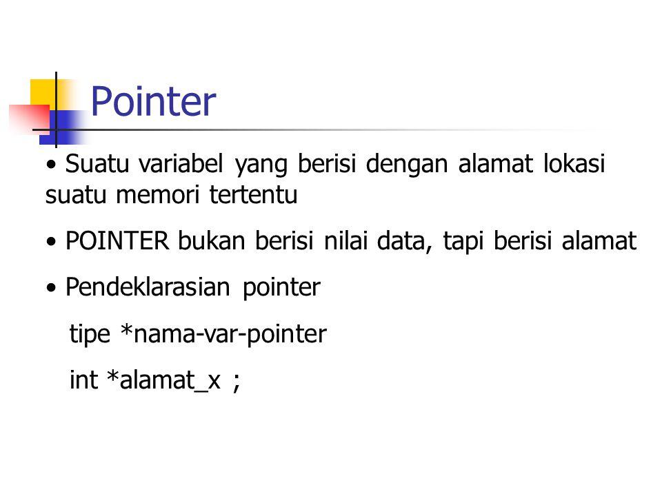 Pointer x = 'J' untuk mengetahui alamat dari variabel x digunakan &x alamat_x = &x ; untuk mengetahui isi dari alamat_x int z ; z = *alamat_x ;