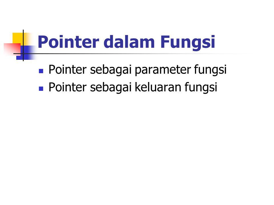 Pointer dalam Fungsi Pointer sebagai parameter fungsi Pointer sebagai keluaran fungsi