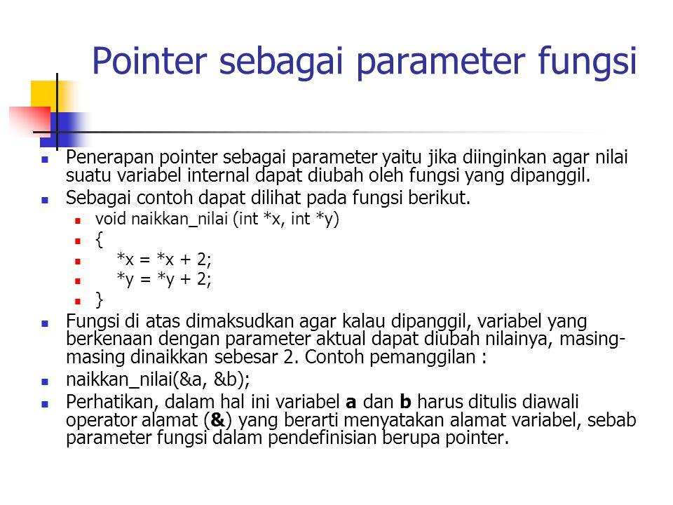 Pointer sebagai parameter fungsi Penerapan pointer sebagai parameter yaitu jika diinginkan agar nilai suatu variabel internal dapat diubah oleh fungsi yang dipanggil.