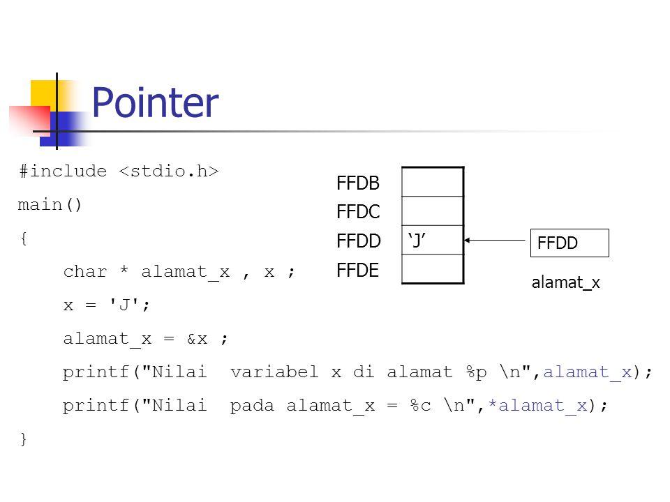 Pointer dan Array int *ip; int a[10]; ip =&a[3]; ip2 = ip + 1;