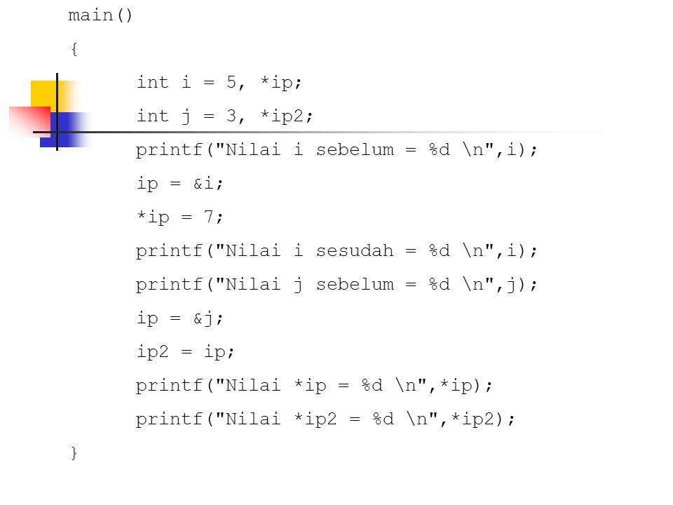 Pointer dan Array PS = &S[4] ; printf( S[4] sebelum %c\n , S[4]); *PS = X ; printf( S[4] sesudah %c\n , S[4]); printf( S[2] sebelum %c\n , S[2]); *(PS - 2) = K ; printf( S[2] sesudah %c\n , S[2]); }