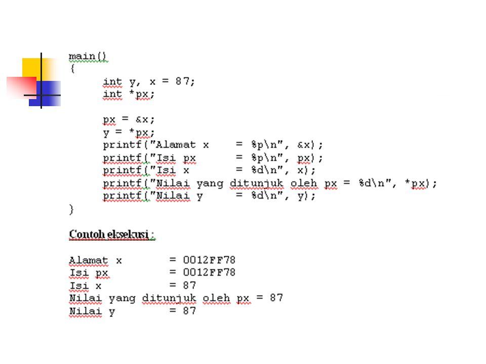 Pointer ke Pointer Int *ipp ; Int i=5, j = 6, k = 7 ; Int *ip1=&i, *ip2=&j ; Ipp = &ip ; *ipp = ip2;