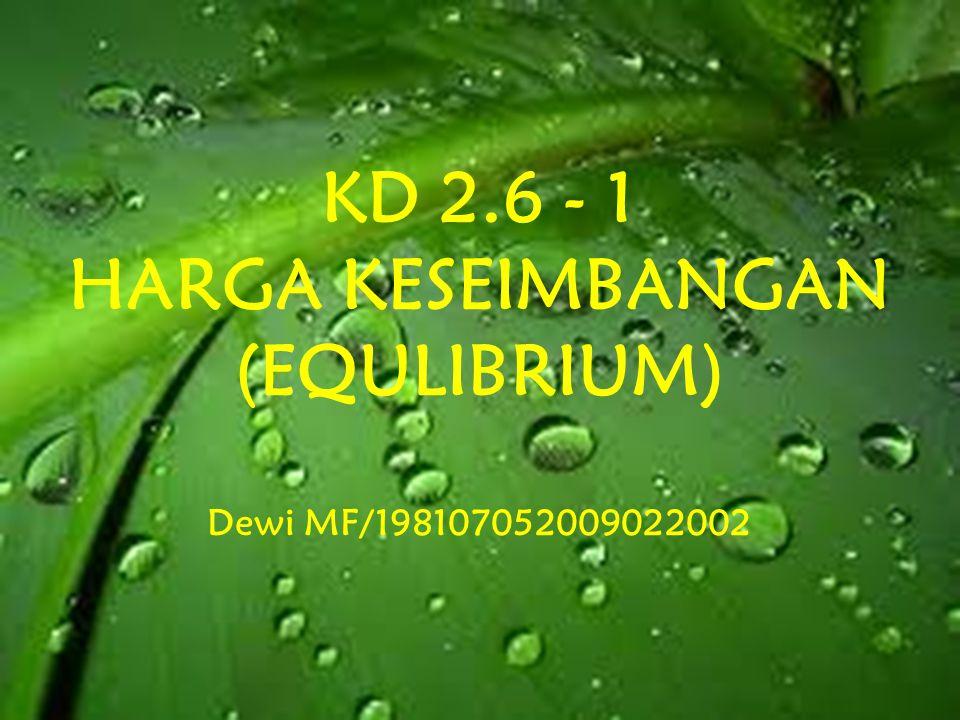 KD 2.6 - 1 HARGA KESEIMBANGAN (EQULIBRIUM) Dewi MF/198107052009022002