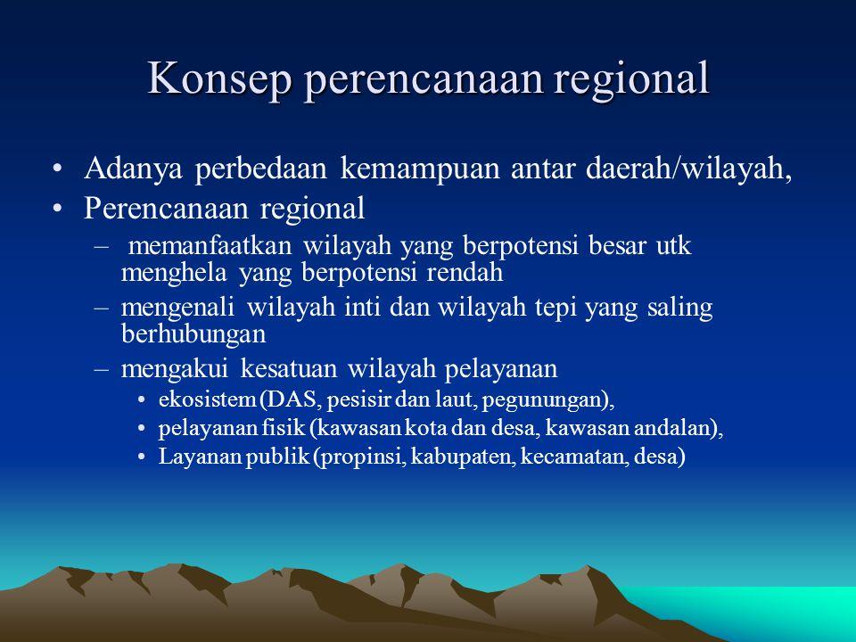 Konsep perencanaan regional Adanya perbedaan kemampuan antar daerah/wilayah, Perencanaan regional – memanfaatkan wilayah yang berpotensi besar utk men