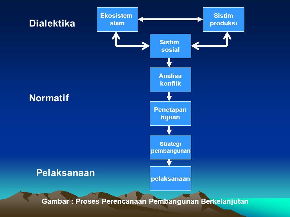 Ekosistem alam Sistim produksi Sistim sosial Analisa konflik Penetapan tujuan Strategi pembangunan pelaksanaan Dialektika Normatif Pelaksanaan Gambar
