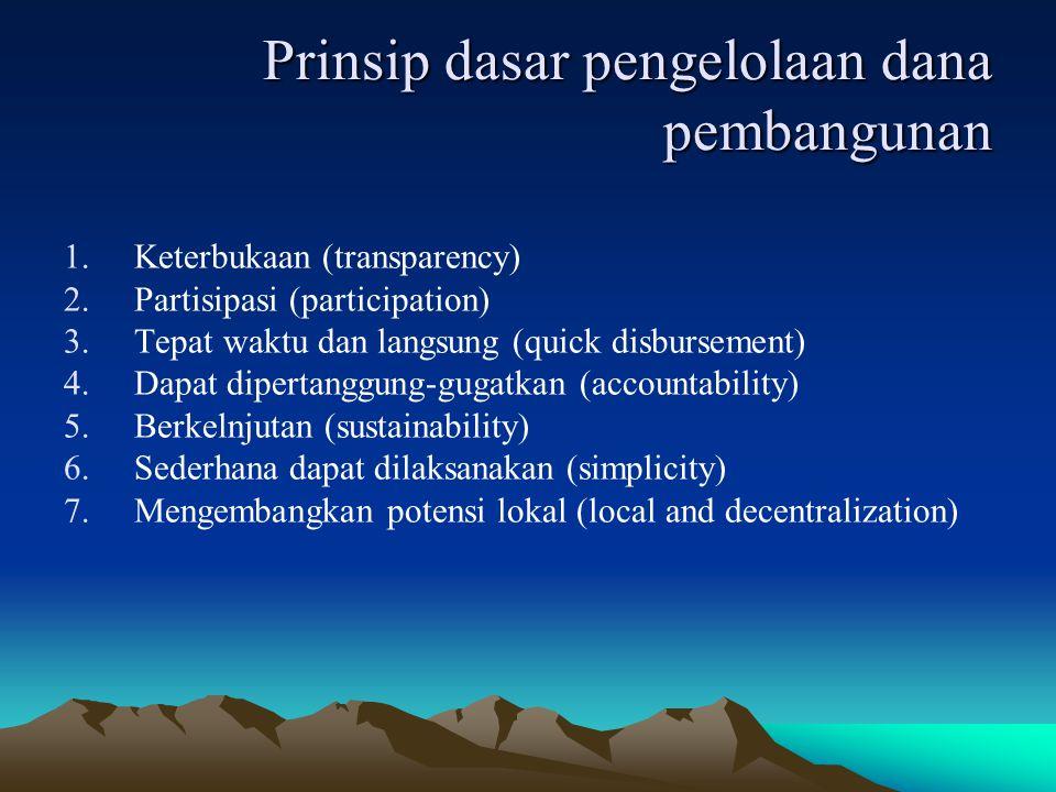 Prinsip dasar pengelolaan dana pembangunan 1.Keterbukaan (transparency) 2.Partisipasi (participation) 3.Tepat waktu dan langsung (quick disbursement)