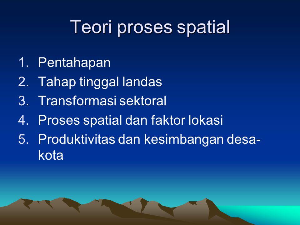Teori proses spatial 1.Pentahapan 2.Tahap tinggal landas 3.Transformasi sektoral 4.Proses spatial dan faktor lokasi 5.Produktivitas dan kesimbangan de