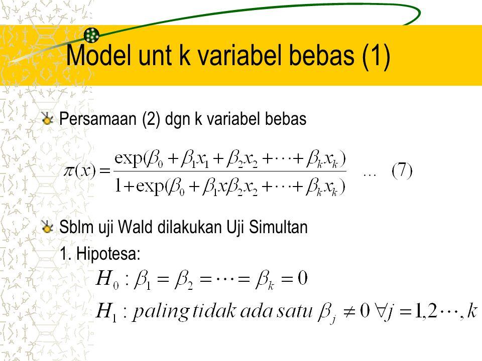 Model unt k variabel bebas (2) 2.
