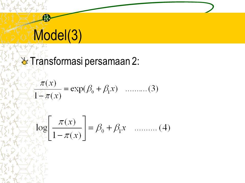 Model(4) Persamaan (3) merupakan rasio kecenderungan ( odds ratio ), menyatakan besarnya kecenderungan untuk sukses suatu observasi dengan nilai x tertentu Persamaan (4) disebut juga fungsi logit yang mentranformasi fungsi non linier menjadi fungsi linier