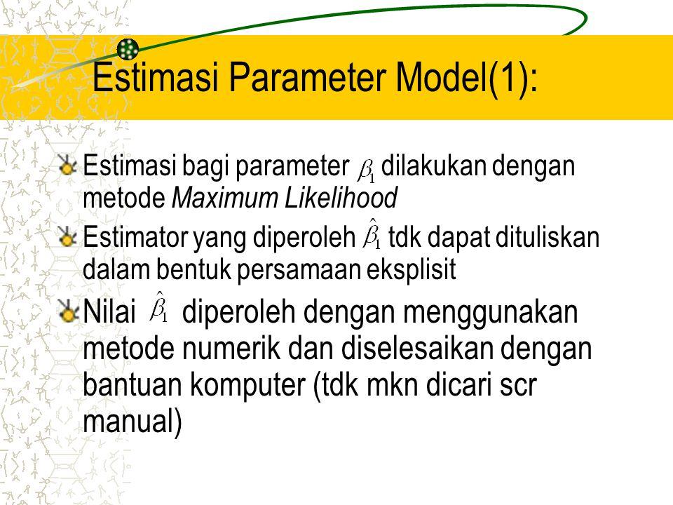 Estimasi Parameter Model(2): Estimasi rasio kecenderungan: Estimasi peluang sukses: