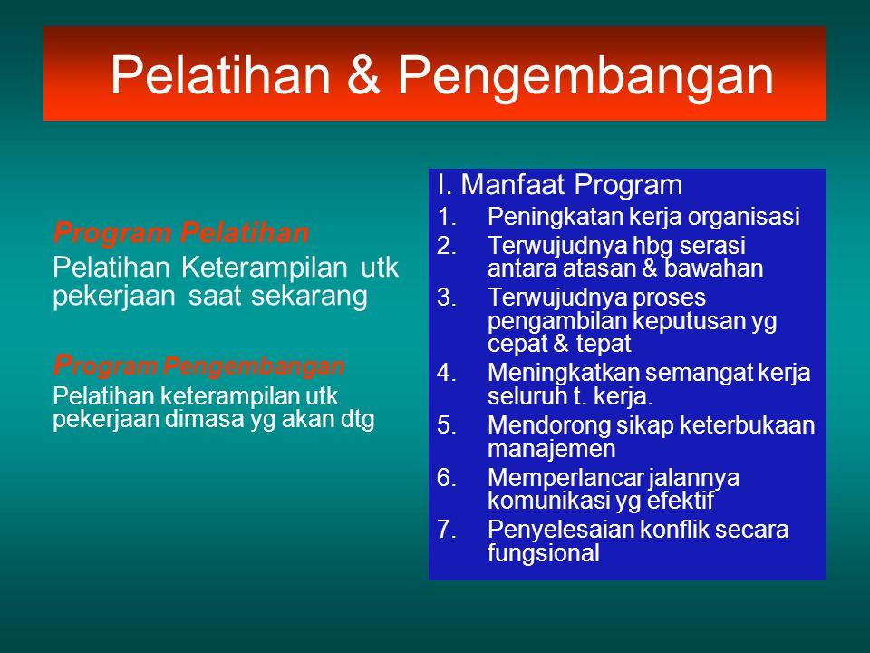 Pelatihan & Pengembangan Program Pelatihan Pelatihan Keterampilan utk pekerjaan saat sekarang P rogram Pengembangan Pelatihan keterampilan utk pekerja