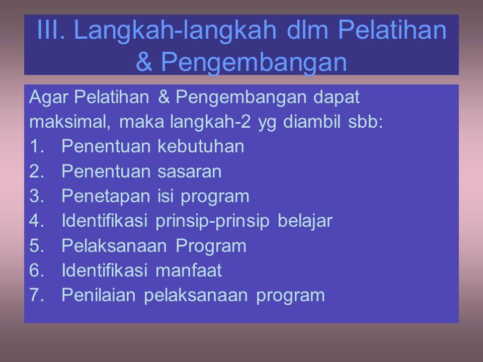 III. Langkah-langkah dlm Pelatihan & Pengembangan Agar Pelatihan & Pengembangan dapat maksimal, maka langkah-2 yg diambil sbb: 1.Penentuan kebutuhan 2