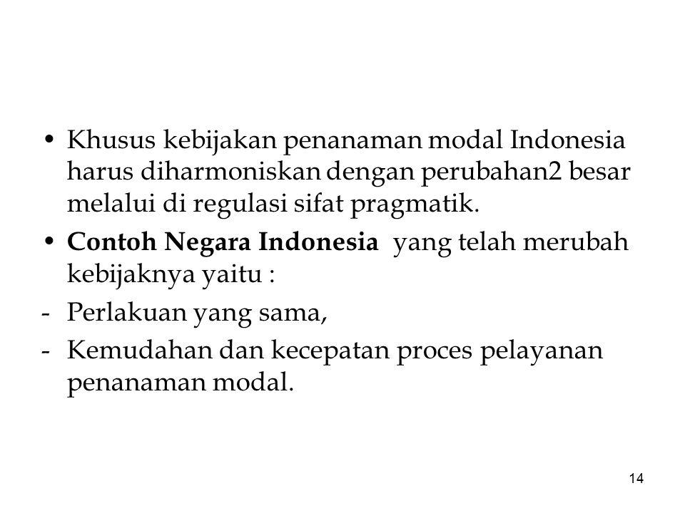 14 Khusus kebijakan penanaman modal Indonesia harus diharmoniskan dengan perubahan2 besar melalui di regulasi sifat pragmatik. Contoh Negara Indonesia