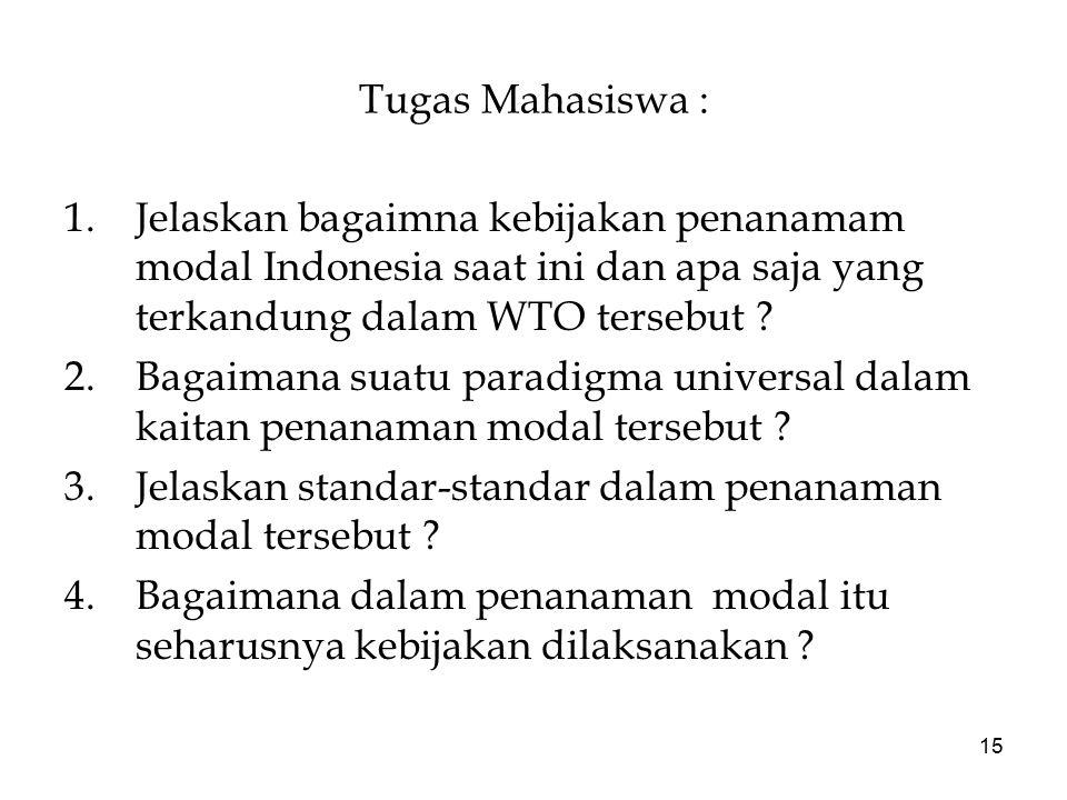 15 Tugas Mahasiswa : 1.Jelaskan bagaimna kebijakan penanamam modal Indonesia saat ini dan apa saja yang terkandung dalam WTO tersebut ? 2.Bagaimana su