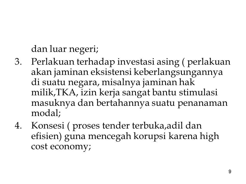 9 dan luar negeri; 3.Perlakuan terhadap investasi asing ( perlakuan akan jaminan eksistensi keberlangsungannya di suatu negara, misalnya jaminan hak m