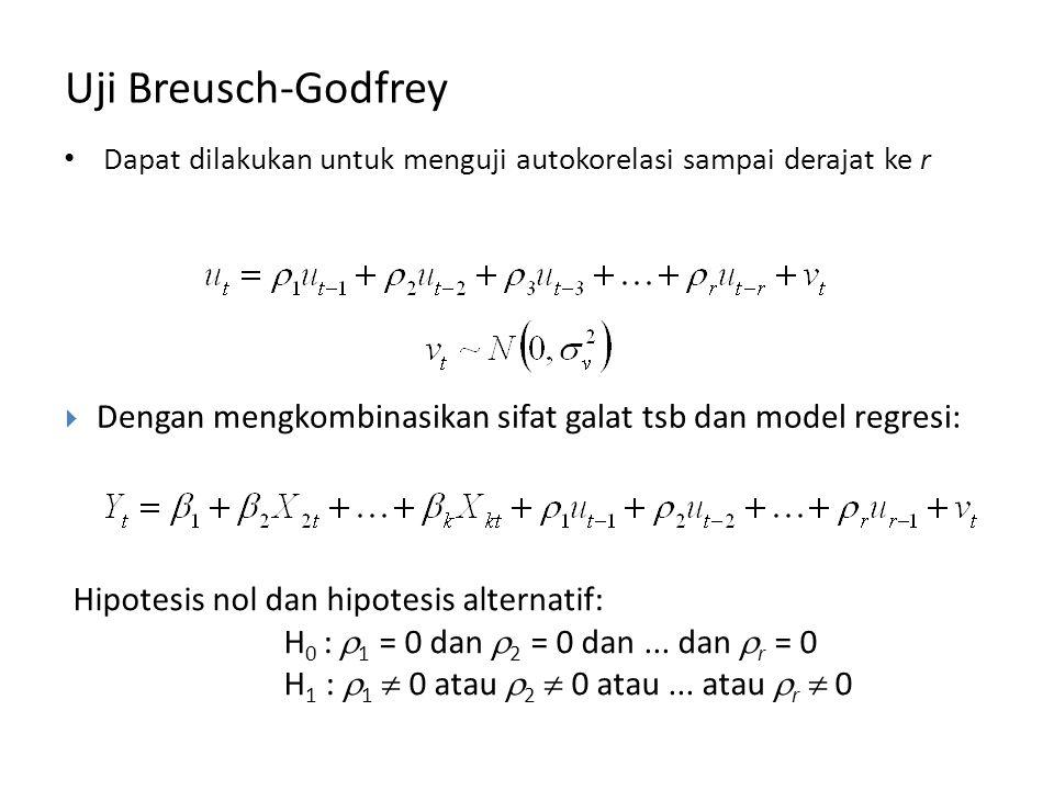 Dapat dilakukan untuk menguji autokorelasi sampai derajat ke r Uji Breusch-Godfrey Hipotesis nol dan hipotesis alternatif: H 0 :  1 = 0 dan  2 = 0 dan...