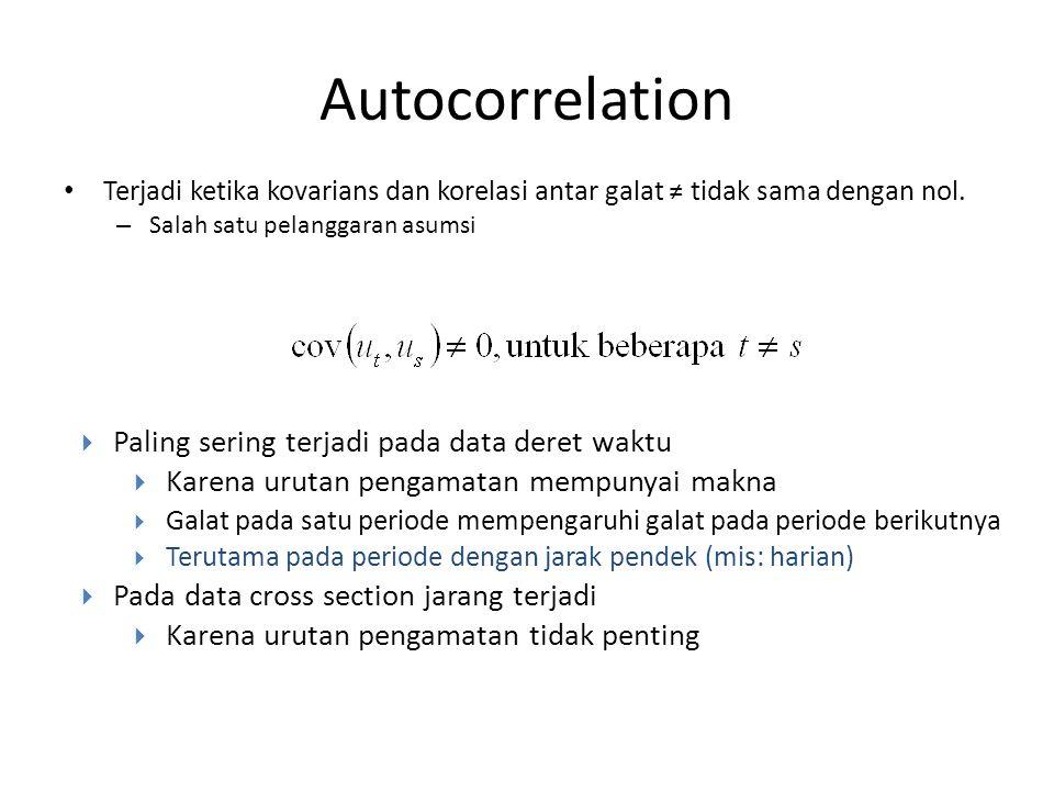 Autocorrelation Terjadi ketika kovarians dan korelasi antar galat ≠ tidak sama dengan nol.