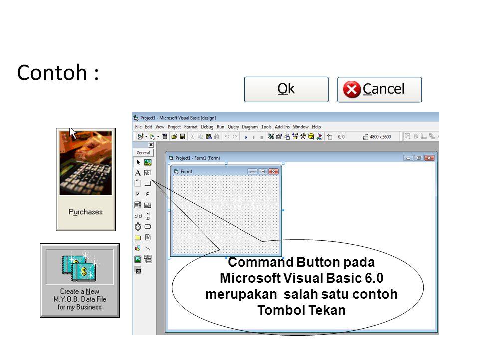 1. Tombol Tekan Digunakan untuk mengaktifkan suatu aktivitas apabila tombol tersebut ditekan menggunakan mouse (Click Mouse). Jenis tombol dinamakan t