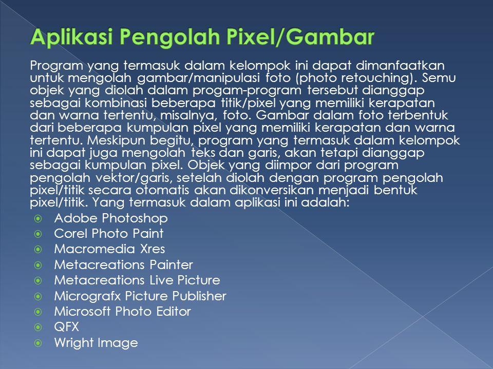Program yang termasuk dalam kelompok ini dapat dimanfaatkan untuk mengolah gambar/manipulasi foto (photo retouching).