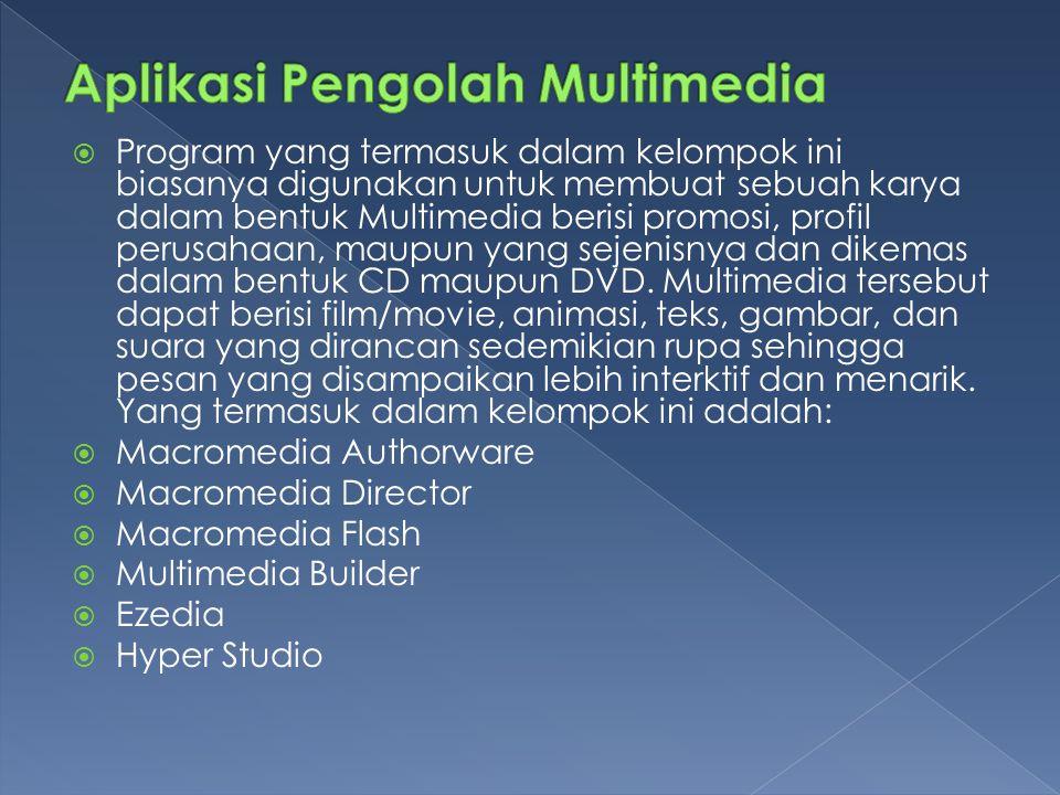  Program yang termasuk dalam kelompok ini biasanya digunakan untuk membuat sebuah karya dalam bentuk Multimedia berisi promosi, profil perusahaan, maupun yang sejenisnya dan dikemas dalam bentuk CD maupun DVD.