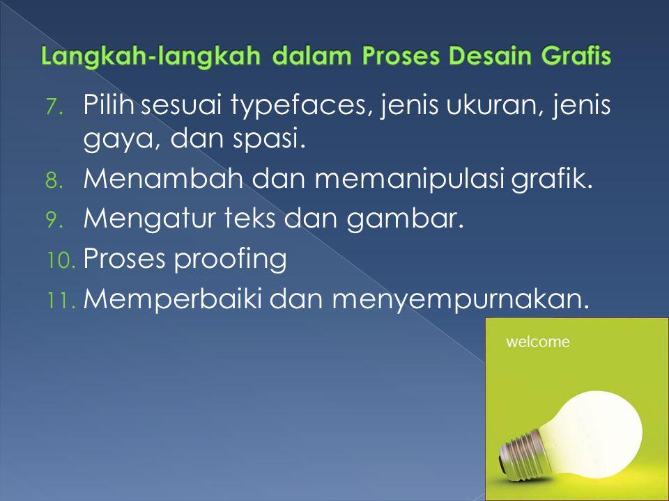 7.Pilih sesuai typefaces, jenis ukuran, jenis gaya, dan spasi.