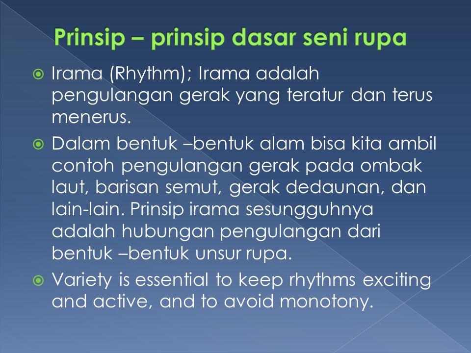  Irama (Rhythm); Irama adalah pengulangan gerak yang teratur dan terus menerus.