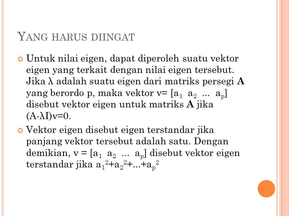 Y ANG HARUS DIINGAT Untuk nilai eigen, dapat diperoleh suatu vektor eigen yang terkait dengan nilai eigen tersebut. Jika λ adalah suatu eigen dari mat