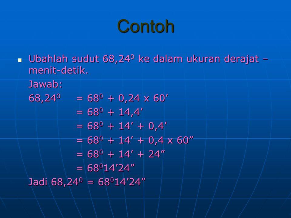Contoh Ubahlah sudut 68,24 0 ke dalam ukuran derajat – menit-detik. Ubahlah sudut 68,24 0 ke dalam ukuran derajat – menit-detik.Jawab: 68,24 0 = 68 0