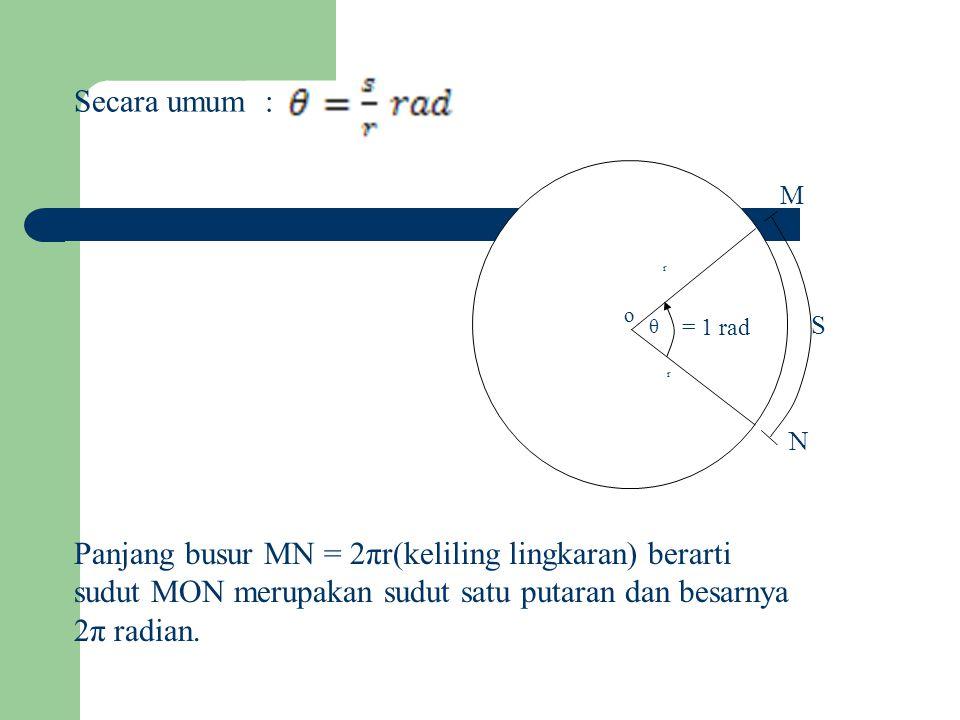 Secara umum : o θ = 1 rad r r N M S Panjang busur MN = 2πr(keliling lingkaran) berarti sudut MON merupakan sudut satu putaran dan besarnya 2π radian.