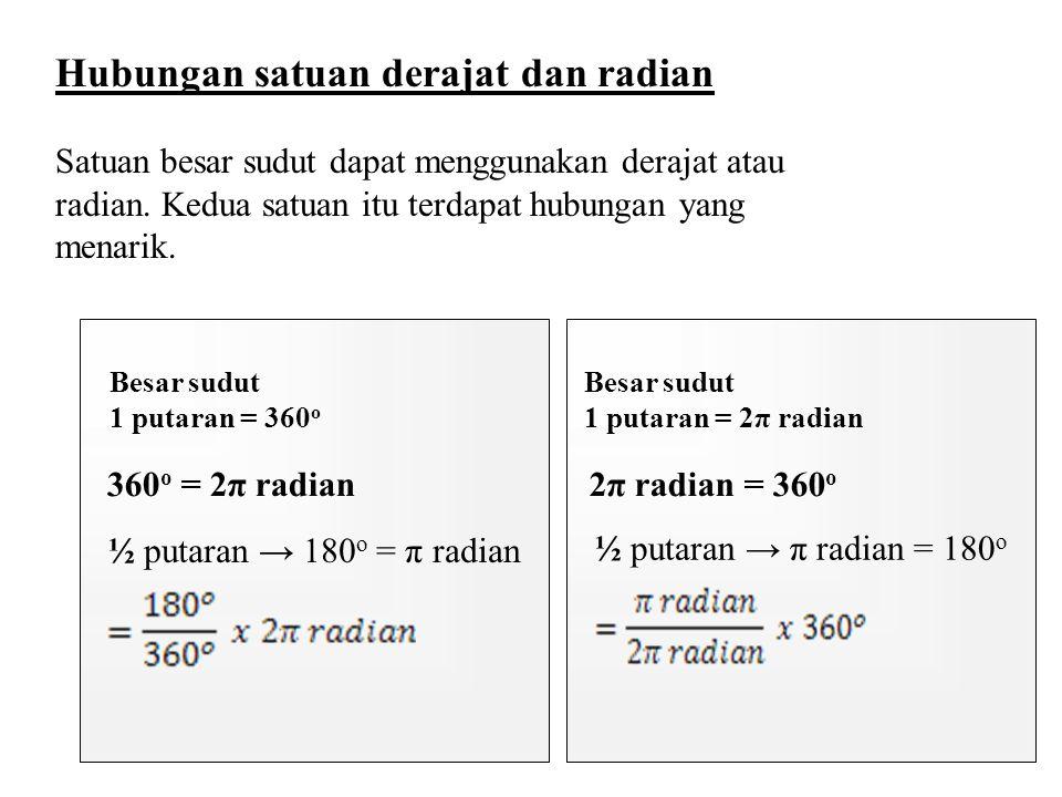 Hubungan satuan derajat dan radian Satuan besar sudut dapat menggunakan derajat atau radian. Kedua satuan itu terdapat hubungan yang menarik. Besar su