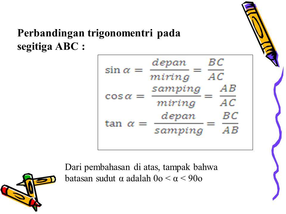 Perbandingan trigonomentri pada segitiga ABC : Dari pembahasan di atas, tampak bahwa batasan sudut α adalah 0o < α < 90o