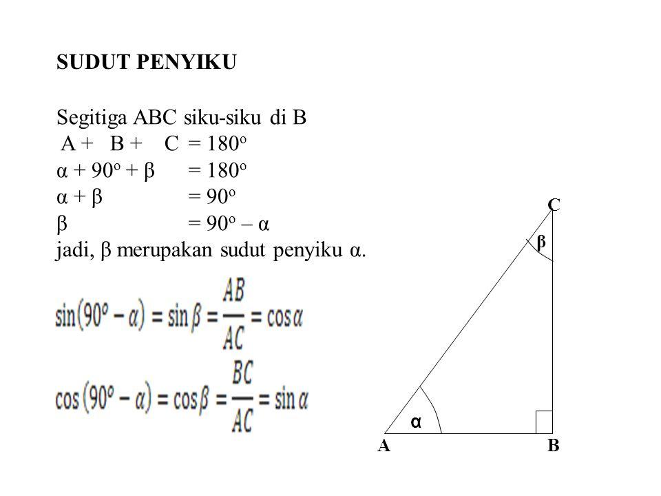 C BA α β Segitiga ABC siku-siku di B A + B + C= 180 o α + 90 o + β= 180 o α + β= 90 o β= 90 o – α jadi, β merupakan sudut penyiku α. SUDUT PENYIKU
