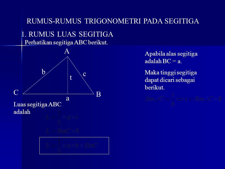 RUMUS-RUMUS TRIGONOMETRI PADA SEGITIGA 1. RUMUS LUAS SEGITIGA A B C c t b a Perhatikan segitiga ABC berikut. Apabila alas segitiga adalah BC = a. Maka
