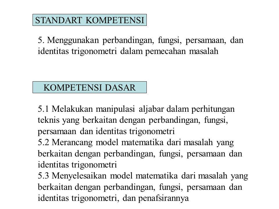 STANDART KOMPETENSI 5. Menggunakan perbandingan, fungsi, persamaan, dan identitas trigonometri dalam pemecahan masalah KOMPETENSI DASAR 5.1 Melakukan
