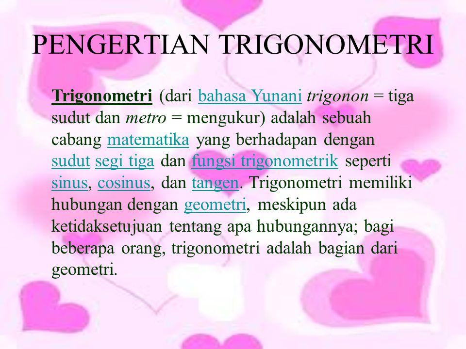 PENGERTIAN TRIGONOMETRI Trigonometri (dari bahasa Yunani trigonon = tiga sudut dan metro = mengukur) adalah sebuah cabang matematika yang berhadapan dengan sudut segi tiga dan fungsi trigonometrik seperti sinus, cosinus, dan tangen.