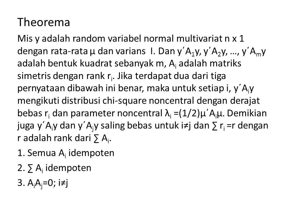 Theorema Mis y adalah random variabel normal multivariat n x 1 dengan rata-rata μ dan varians I.
