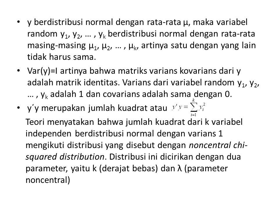 Theorema merupakan n variabel random independen berdistribusi noncentral chi-square dengan derajat bebas k 1, k 2, …, k n dan paramater noncentral λ 1, λ 2, …, λ n.