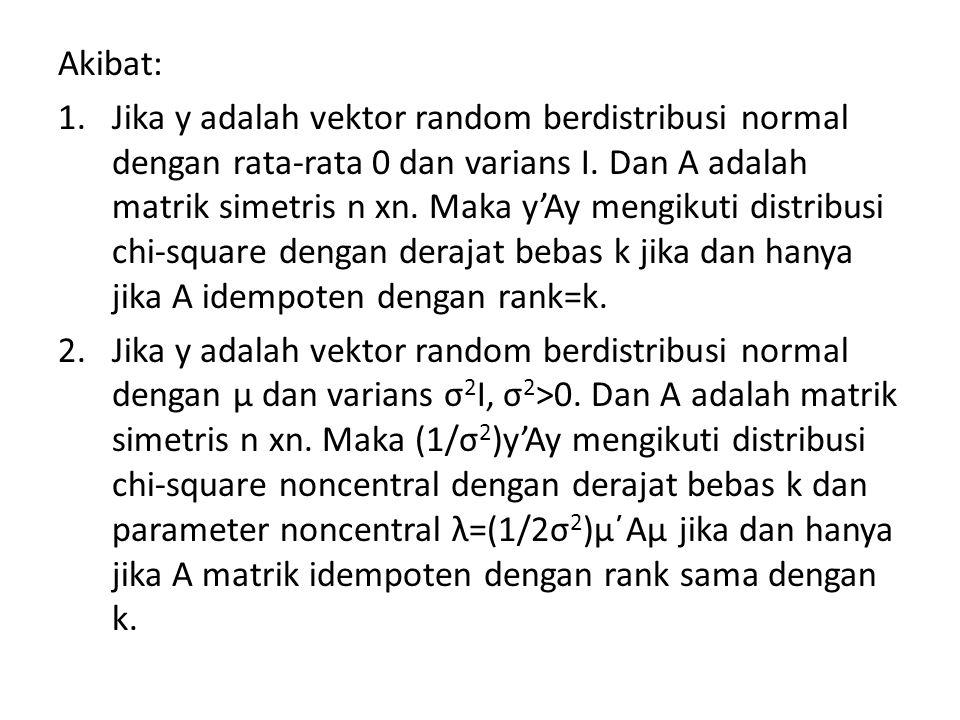 Theorema: Jika y sebuah random variabel normal multivariat n x 1 dengan rata-rata μ dan varians V.