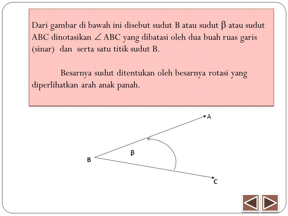 Dari gambar di bawah ini disebut sudut B atau sudut β atau sudut ABC dinotasikan  ABC yang dibatasi oleh dua buah ruas garis (sinar) dan serta satu t