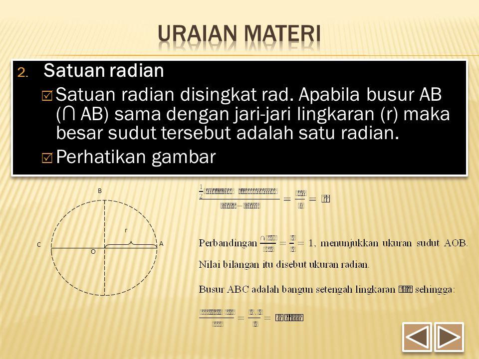 2. Satuan radian  Satuan radian disingkat rad. Apabila busur AB (∩ AB) sama dengan jari-jari lingkaran (r) maka besar sudut tersebut adalah satu radi