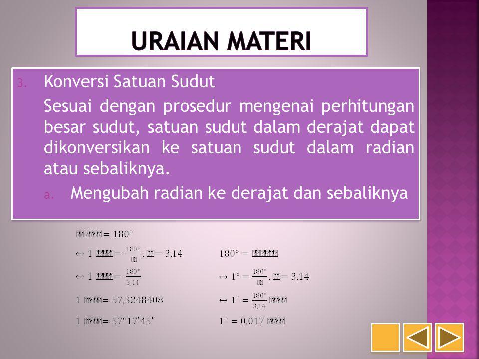 3. Konversi Satuan Sudut Sesuai dengan prosedur mengenai perhitungan besar sudut, satuan sudut dalam derajat dapat dikonversikan ke satuan sudut dalam