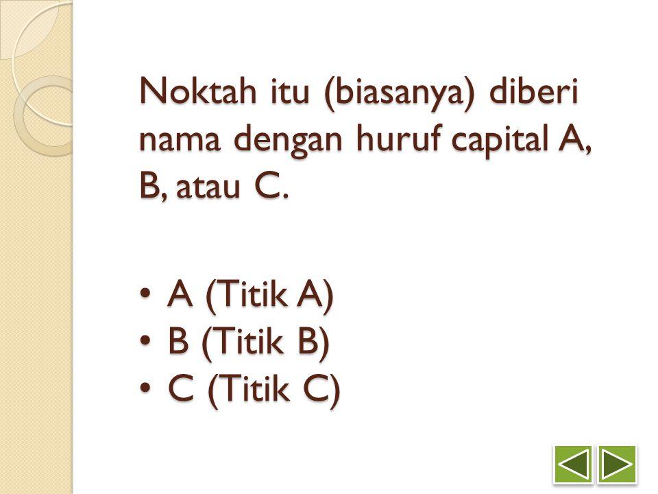Noktah itu (biasanya) diberi nama dengan huruf capital A, B, atau C. A (Titik A) A (Titik A) B (Titik B) B (Titik B) C (Titik C) C (Titik C)
