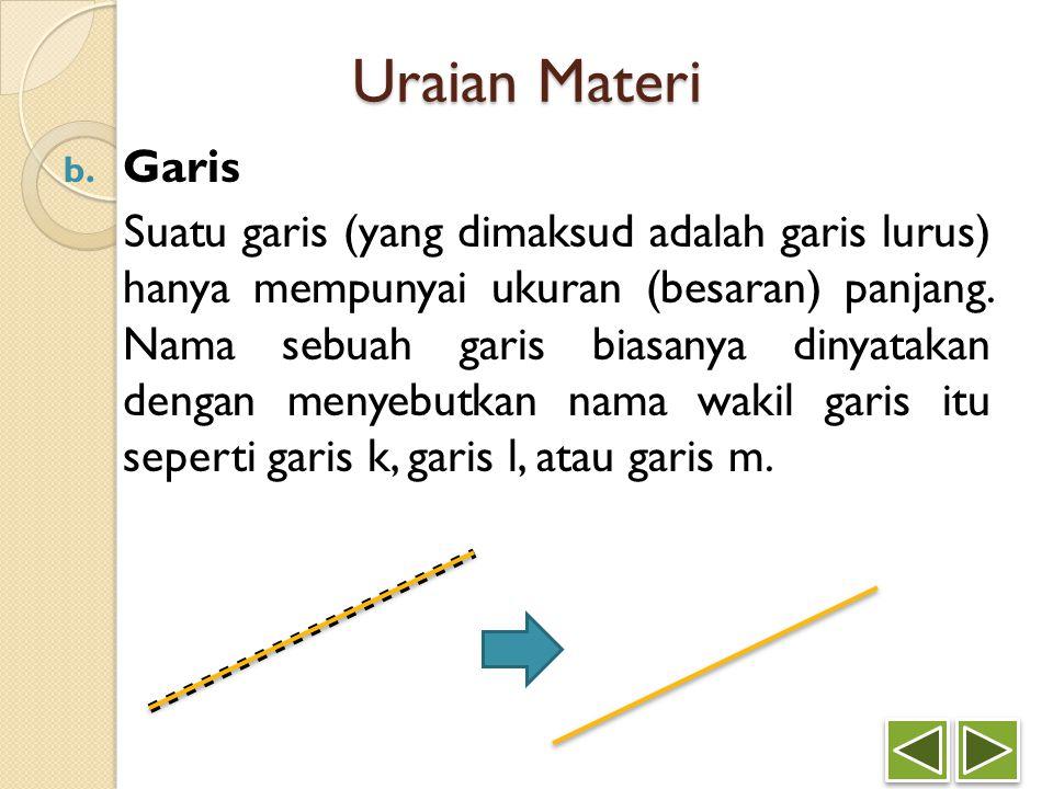 Uraian Materi b. Garis Suatu garis (yang dimaksud adalah garis lurus) hanya mempunyai ukuran (besaran) panjang. Nama sebuah garis biasanya dinyatakan