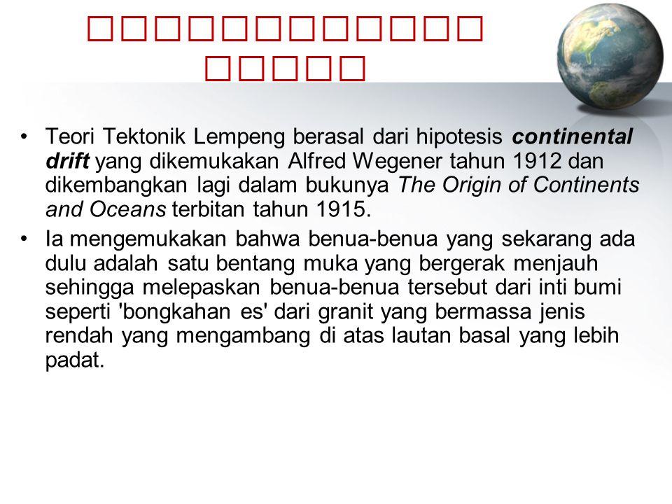 PERKEMBANGAN TEORI Teori Tektonik Lempeng berasal dari hipotesis continental drift yang dikemukakan Alfred Wegener tahun 1912 dan dikembangkan lagi da