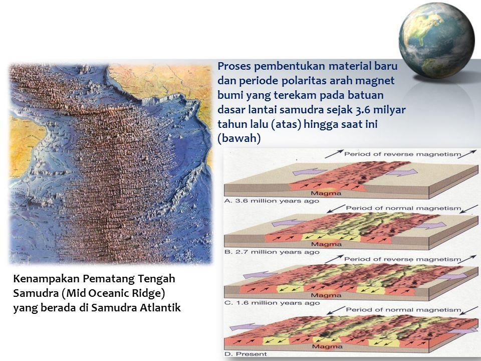  Bukti pertama bahwa lempeng - lempeng itu memang mengalami pergerakan didapatkan dari penemuan perbedaan arah medan magnet dalam batuan - batuan yang berbeda usianya.