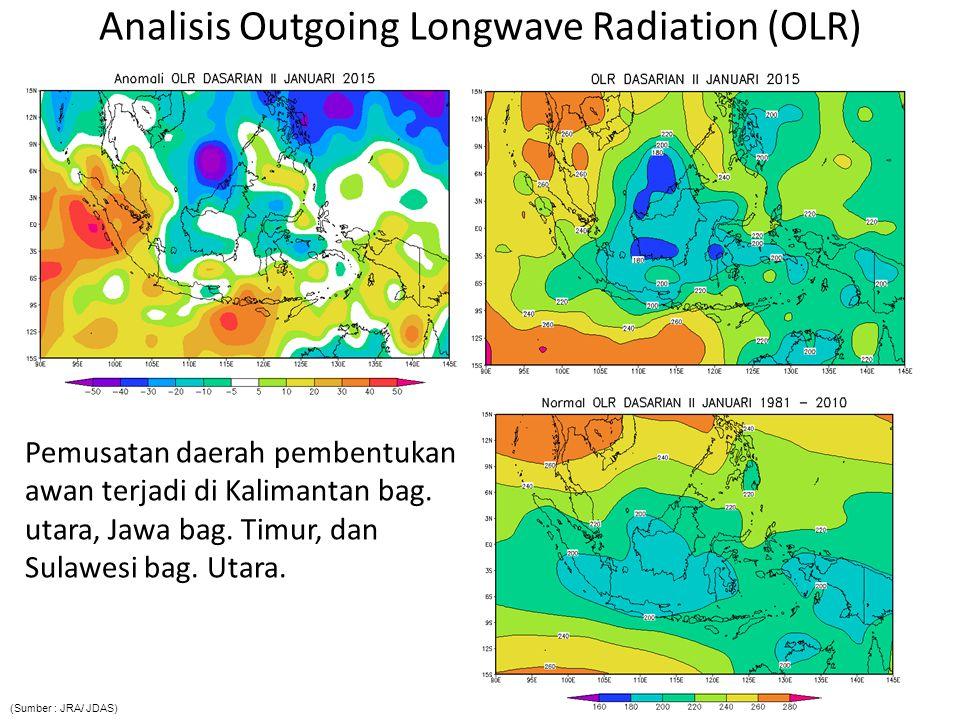 Analisis Outgoing Longwave Radiation (OLR) Pemusatan daerah pembentukan awan terjadi di Kalimantan bag. utara, Jawa bag. Timur, dan Sulawesi bag. Utar
